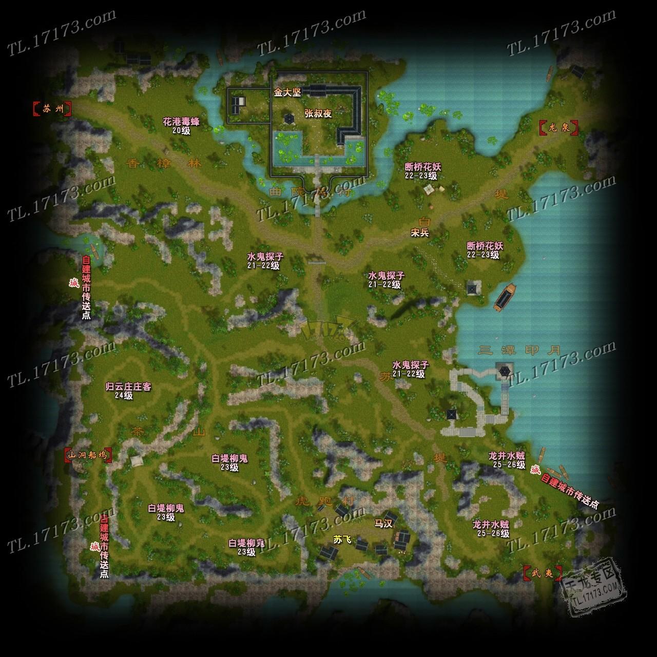 西湖断桥手绘地图